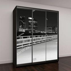 """Шкаф купе с фотопечатью """"Ночной мост с фонарями и скамейками в Нью-Йорке"""""""