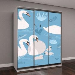 """Шкаф купе с фотопечатью """"Белый лебедь на синем фоне"""""""