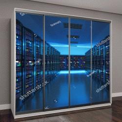 """Шкаф купе с фотопечатью """"Современные web-сети Интернет и телекоммуникационных технологий, больших объемов данных и облачных вычислений, компьютерного сервиса бизнес-концепция: сервер интерьер комнаты"""