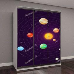 """Шкаф купе с фотопечатью """"макет солнечной системы"""""""