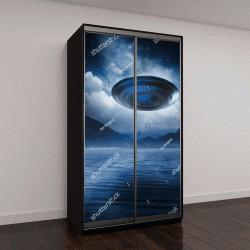 """Шкаф купе с фотопечатью """"Плавающий НЛО на озере"""""""