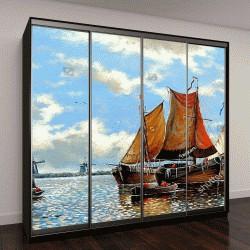 """Шкаф купе с фотопечатью """"Изобразительное искусство,классическое искусство,лодки рыбаков, живопись маслом"""""""