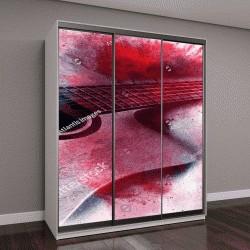 """Шкаф купе с фотопечатью """"Абстрактный цифровой живописи гитара"""""""