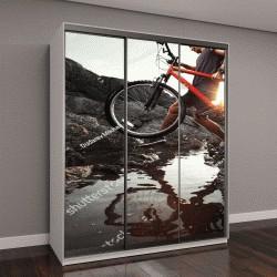 """Шкаф купе с фотопечатью """"Молодой спортсмен с велосипедом в руках"""""""