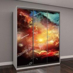 """Шкаф купе с фотопечатью """"акварельные облака и солнце"""""""