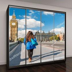 """Шкаф купе с фотопечатью """"Лондон, турист гуляет"""""""
