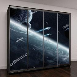 """Шкаф купе с фотопечатью """"Вид планеты из космоса во время восхода солнца"""""""
