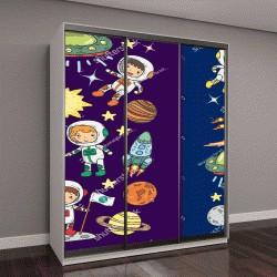 """Шкаф купе с фотопечатью """"астрономия для детей, детский рисунок НЛО"""""""