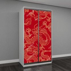 """Шкаф купе с фотопечатью """"Китайские драконы, золотые контуры на красном фоне"""""""