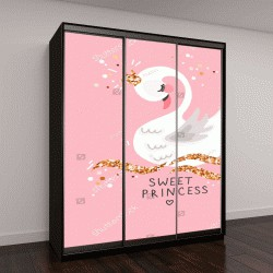 "Шкаф купе с фотопечатью ""Принцесса Лебедь на розовом фоне"""