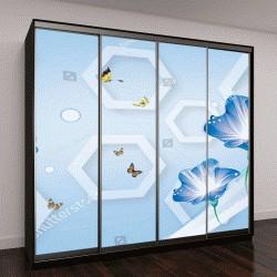 """Шкаф купе с фотопечатью """"3D цветок обои абстракция для стен"""""""