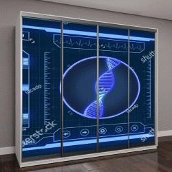 """Шкаф купе с фотопечатью """"футуристичный интерфейс, сканер ДНК человека (3D визуализация)"""""""