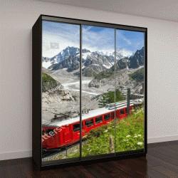 """Шкаф купе с фотопечатью """"красный поезд в европейских Альпах, Франция"""""""