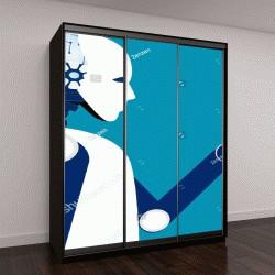 """Шкаф купе с фотопечатью """"робота, векторный рисунок"""""""