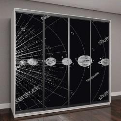 """Шкаф купе с фотопечатью """"Солнечная система в стиле dotwork"""""""