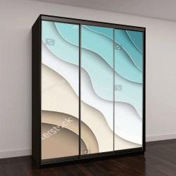 """Шкаф купе с фотопечатью """"Абстрактный синий море и пляж летом фон с бумажными волнами и моря для баннера, приглашения, плакат или веб-дизайн сайта"""""""