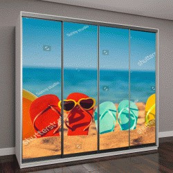 """Шкаф купе с фотопечатью """"Шлепанцы, пляжный волейбол на песке"""""""