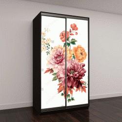 """Шкаф купе с фотопечатью """"листья и цветы арт-дизайн"""""""