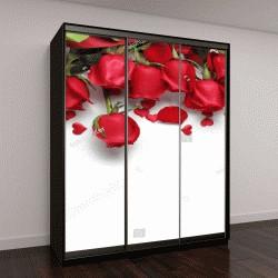 """Шкаф купе с фотопечатью """"Красные розы в форме сердца """""""