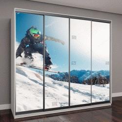"""Шкаф купе с фотопечатью """"сноубордист прыгает """""""