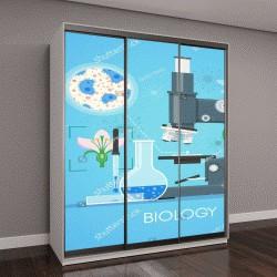 """Шкаф купе с фотопечатью """"учебный плакат с микроскопом """""""