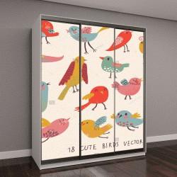 """Шкаф купе с фотопечатью """"Милые птицы в векторе"""""""
