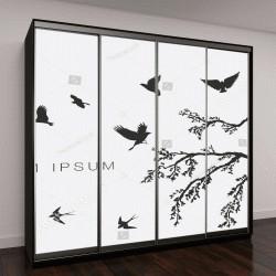 """Шкаф купе с фотопечатью """"стая летящих птиц у ветки дерева """""""