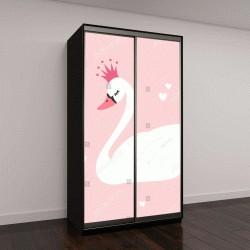 "Шкаф купе с фотопечатью ""Принцесса Лебедь на розовом фоне """