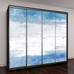 """Шкаф купе с фотопечатью """"Синий и серый абстрактный искусства картина"""""""
