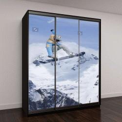 """Шкаф купе с фотопечатью """"Летящий сноубордист с горы"""""""