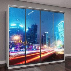 """Шкаф купе с фотопечатью """"торговые центры на фоне современного города ночью """""""