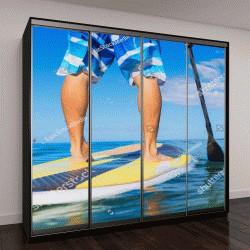 """Шкаф купе с фотопечатью """"Молодая привлекательная Манн на Встать весло доска, SUP, в синих водах у Гавайских островов"""""""