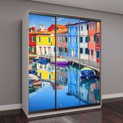 """Шкаф купе с фотопечатью """"Красочные дома в Бурано, Венеция, Италия"""""""