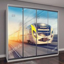 """Шкаф купе с фотопечатью """"современный высокоскоростной поезд в ясный день"""""""