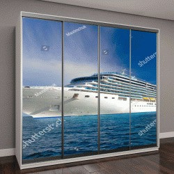 """Шкаф купе с фотопечатью """"большой круизный корабль в море """""""
