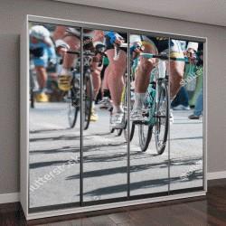 """Шкаф купе с фотопечатью """"группа велосипедистов на профессиональных гонках"""""""