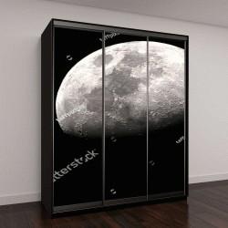 """Шкаф купе с фотопечатью """"Половина Луны на черном фоне"""""""