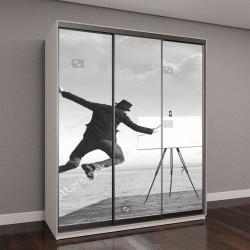 """Шкаф купе с фотопечатью """"сюрреалистический черно-белый арт, рисунок на холсте"""""""
