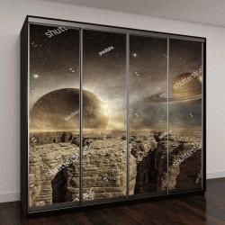 """Шкаф купе с фотопечатью """"Сатурн и Луна в небе пустынного пейзажа"""""""