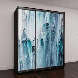 """Шкаф купе с фотопечатью """"синий и белый, абстрактная живопись на холсте"""""""