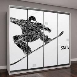 """Шкаф купе с фотопечатью """"Силуэт сноубордист"""""""