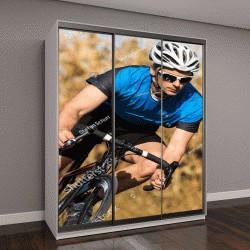 """Шкаф купе с фотопечатью """"велосипедист на гоночном велосипеде"""""""