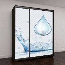 """Шкаф купе с фотопечатью """"Прозрачный вектор всплеск воды и капли воды на светлом фоне"""""""