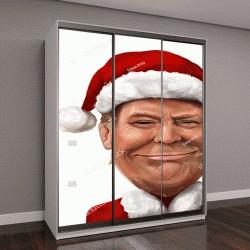 """Шкаф купе с фотопечатью """" Новогодний портрет Дональда Трампа"""""""
