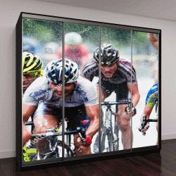 """Шкаф купе с фотопечатью """"велосипедисты из разных команд"""""""