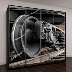 """Шкаф купе с фотопечатью """"колеса поезда крупным планом """""""