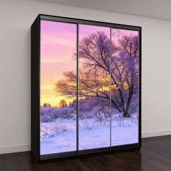 """Шкаф купе с фотопечатью """"деревья покрытые снегом и восход"""""""