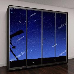 """Шкаф купе с фотопечатью """"Иллюстрация телескоп и Млечный путь"""""""