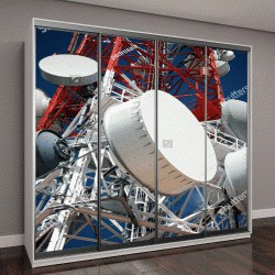 """Шкаф купе с фотопечатью """"Телекоммуникационная башня с голубым небом"""""""