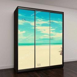 """Шкаф купе с фотопечатью """"Шезлонг на пляже с белым песком на солнечном фоне неба, старинные тона - летняя концепция праздника """""""